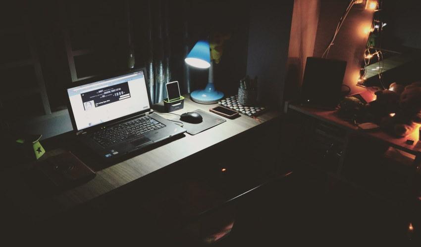 Dark Room with laptop